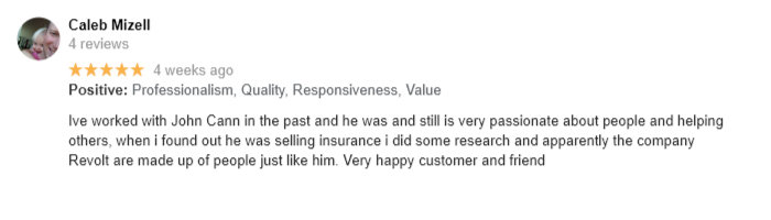 Google Review of Revolt Heatlhcare by